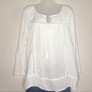 Lucky Brand white peasant top. Size large